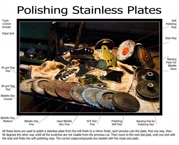 Here you can see just how many processes there are to polishing a plate....ALL these items are used for each plate