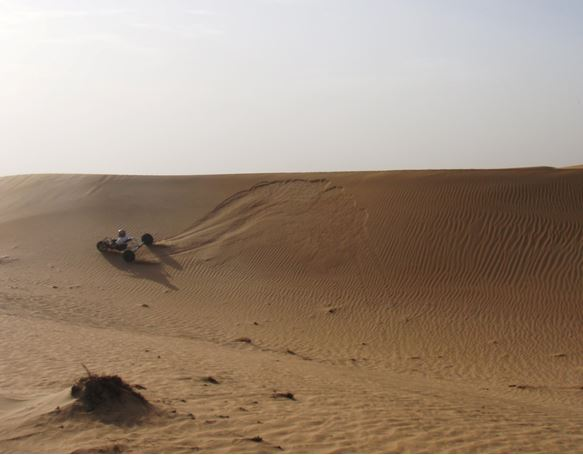 Leeward side of dune – Note how soft it is at the apex, which causes the buggy to slide down