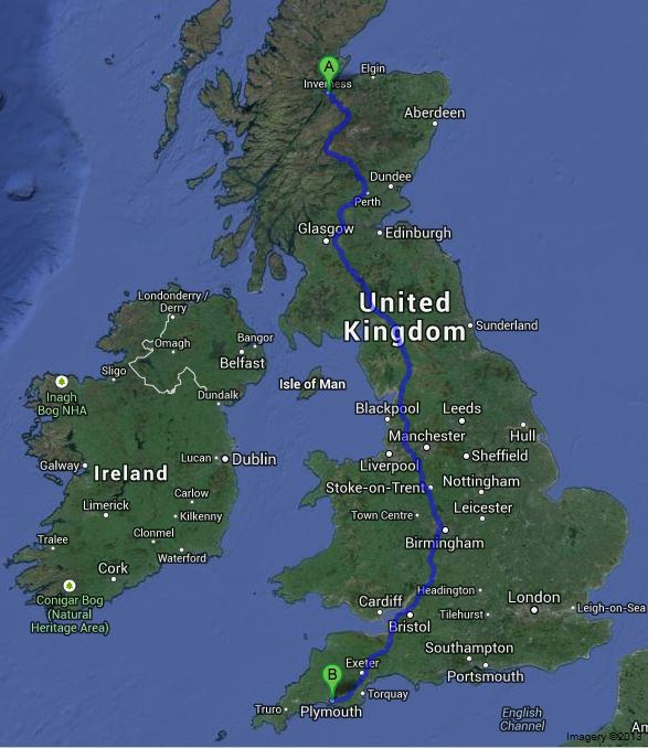 To give you an idea of the distance covered 642 miles Inverness to Plymouth