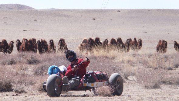 Gav Mulvay during the current Mad Way Mongolia Kite buggy trek